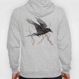 Flying Raven Art, raven crow tribal design Hoody