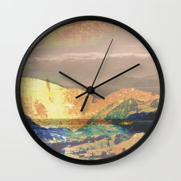 Vintage landscape layer collage photography - yellow Wall Clock