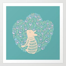 Cream Frenchie and the Spring foliage Art Print