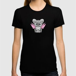 Snow Leopard Cub Fairy Wearing Glasses on Pink T-shirt