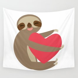 Funny sloth with a red heart Wall Tapestry