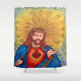 Sacred Heart Of Jesus Christ Drawing Shower Curtain
