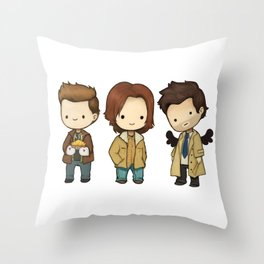 Chibi Dean Sam Castiel Supernatural Throw Pillow