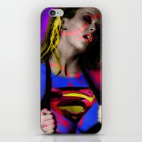 supergirl iPhone & iPod Skins featuring Supergirl by EarlyHuman