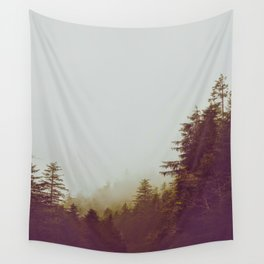 Olive Green Sepia Misty Pine Forest Landscape Photography Parallax Trees Wall Tapestry