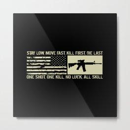 M4 Assault Rifle & Tactical Flag Metal Print