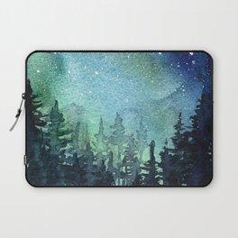 Galaxy Watercolor Aurora Borealis Painting Laptop Sleeve