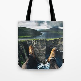 at the edge of the world Tote Bag