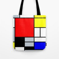 mondrian Tote Bags featuring Mondrian by Dizzy Moments