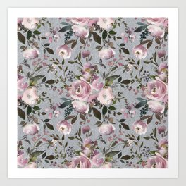 Vintage Soft Pink Blossom on Elegant Gray Art Print