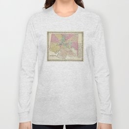 Vintage Map of Baltimore MD (1856) Long Sleeve T-shirt