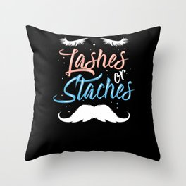 Lashes Or Staches - Gift Throw Pillow