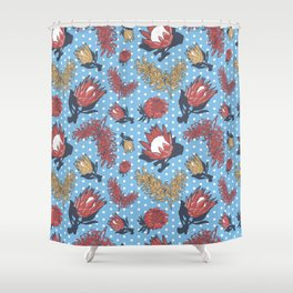 Australian Native Flowers - Grevillea and Protea Shower Curtain