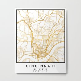 CINCINNATI OHIO CITY STREET MAP ART Metal Print