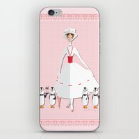mary poppins iPhone & iPod Skins featuring Mary Poppins by AmadeuxArt