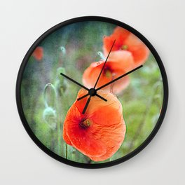 Vintage poppies (10) Wall Clock