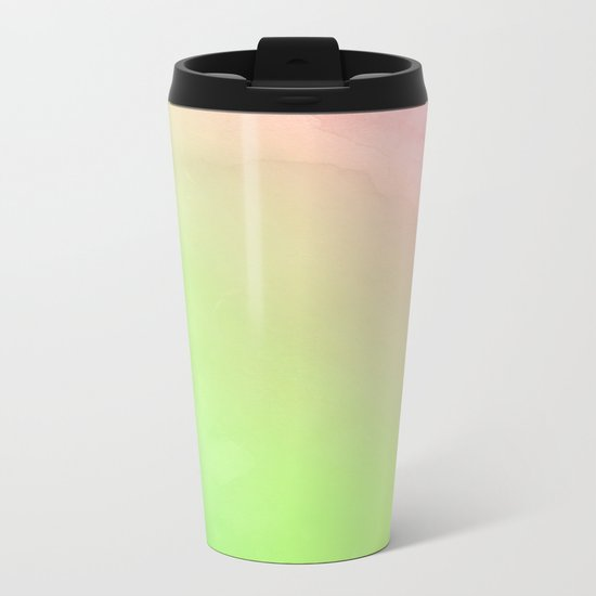Greenery and Rose Quartz Metal Travel Mug