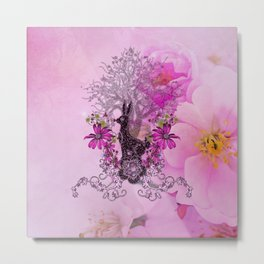 Funny easter bunny with flowers Metal Print