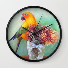 Sun conure and flowers Wall Clock