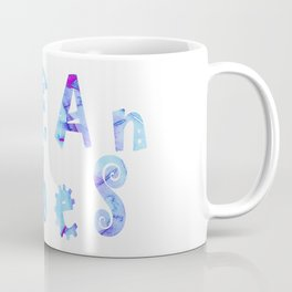 oCEAn VibeS | Tropical Cyan Teal & Magenta Watercolor Coffee Mug