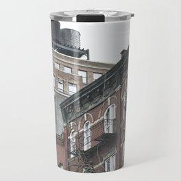 New York City corners, fire escapes, ladders fine art , nyc, America, photo Travel Mug