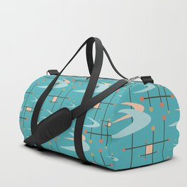 Mid Century Modern in Turquoise Duffle Bag