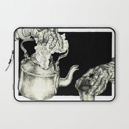 Geometric Black and White Drawing Tea Pot Time Laptop Sleeve