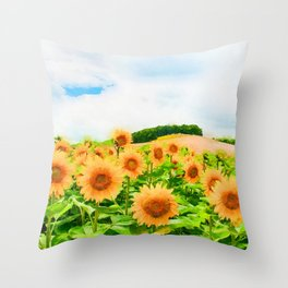 Sunflowers' field watercolor painting Throw Pillow