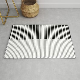The Piano Black and White Keyboard Stripes with Vertical Stripes Rug