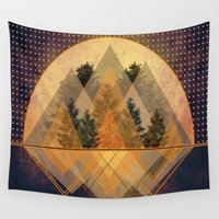 techno Wall Tapestries featuring try again tree-angles mountains by AmDuf