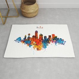 Dallas Watercolor Skyline Rug