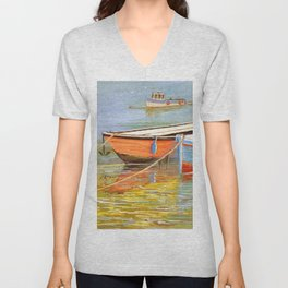Blue And Orange Boats At The Harbor Unisex V-Neck