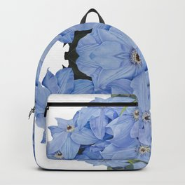 Blue Clematis Flowers on Knotted Fence Post Backpack