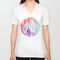 bedding V-neck T-shirts featuring Purple & Peach Love - abstract painting in rainbow pastels by micklyn