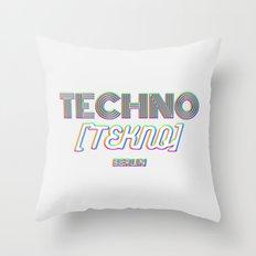 Techno Tekno Berlin (Glitch) Throw Pillow