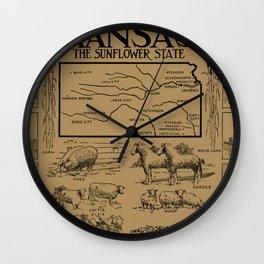 Vintage Illustrative Map of Kansas (1912) - Tan Wall Clock