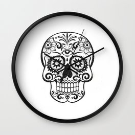Day of the dead black glitter decorated skull - Halloween Wall Clock