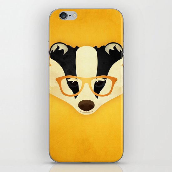 Hipster Badger: Gold iPhone & iPod Skin