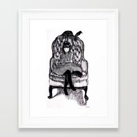 reading Framed Art Prints featuring Reading by Rachael Withers