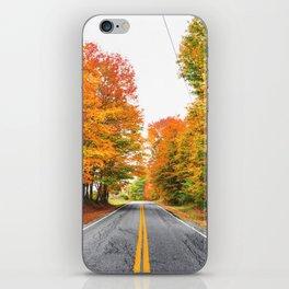 autumn road iPhone Skin