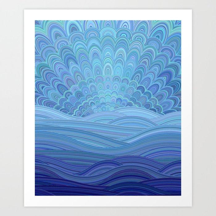 d39dd95f10f Blue Mandala Sunset at the Ocean Art Print by davidzydd