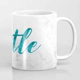 Blue Hustle Text Marble Coffee Mug