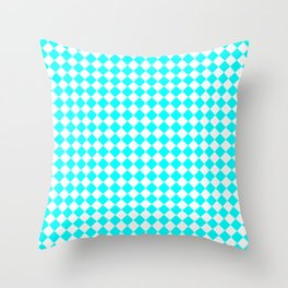 Small Diamonds - White and Aqua Cyan Throw Pillow