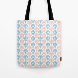 Vintage chic ivory coral blue floral damask pattern Tote Bag