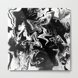 Black and White Ink Swirl Metal Print