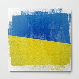 Ukrainian Distressed Halftone Denim Flag Metal Print