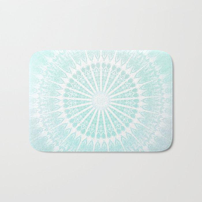 Turquoise Glittering Mandala Bath Mat