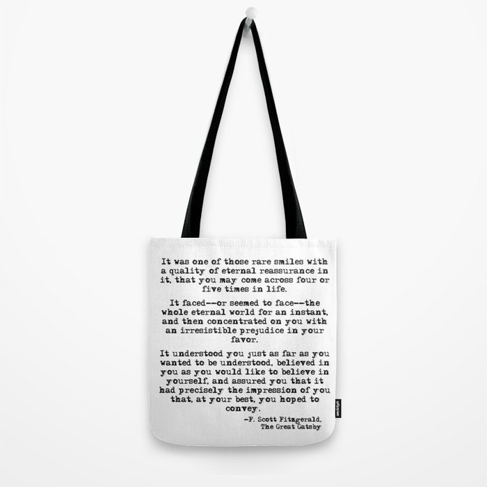 It was one of those rare smiles - F. Scott Fitzgerald Tote Bag