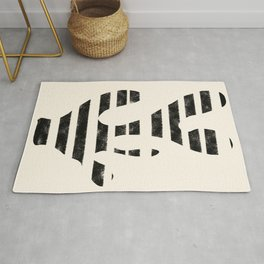 Black Texture Abstract Shape Rug