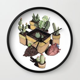 cactus, tropical leaves and heart Wall Clock